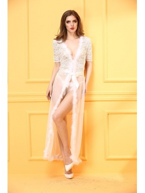 Long white transparent dress for love doll